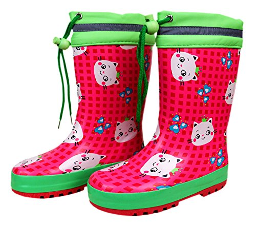 MaxiMo, Kindergummistiefel, Babygummistiefel, Gummistiefel, pink rose/mintgrün, Motiv Katze, mit Bund und Jersey-Futter, Naturgummi pink rose/mintgrün
