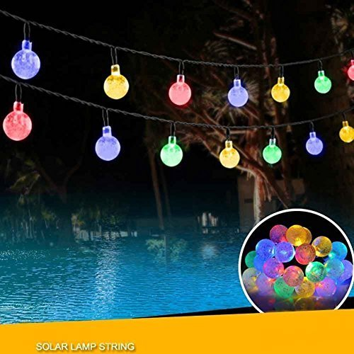 Xinxin Solar String Lights,Liangxiang 20ft 30 LED Crystal Ball Waterproof Outdoor String Lights Solar Powered Globe Fairy String Lamps