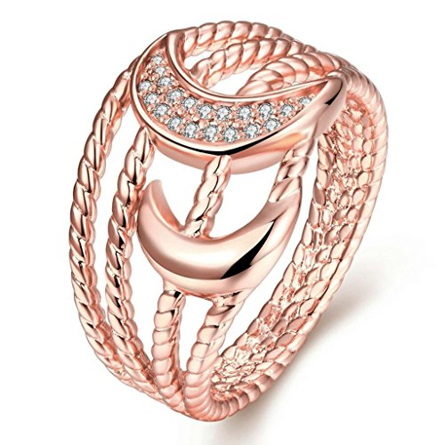(Epinki Gold Plated Ring, Women's Wedding Bands Rose Gold Hollow Moon Cut Size 8)