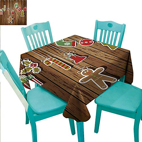 Christmas Washable Table Cloth Merry Xmas Ornaments Pattern over Wooden Board Background Holly Jolly Happy Design Washable Polyester - Great for Buffet Table, Parties, Holiday Dinner, Wedding & More