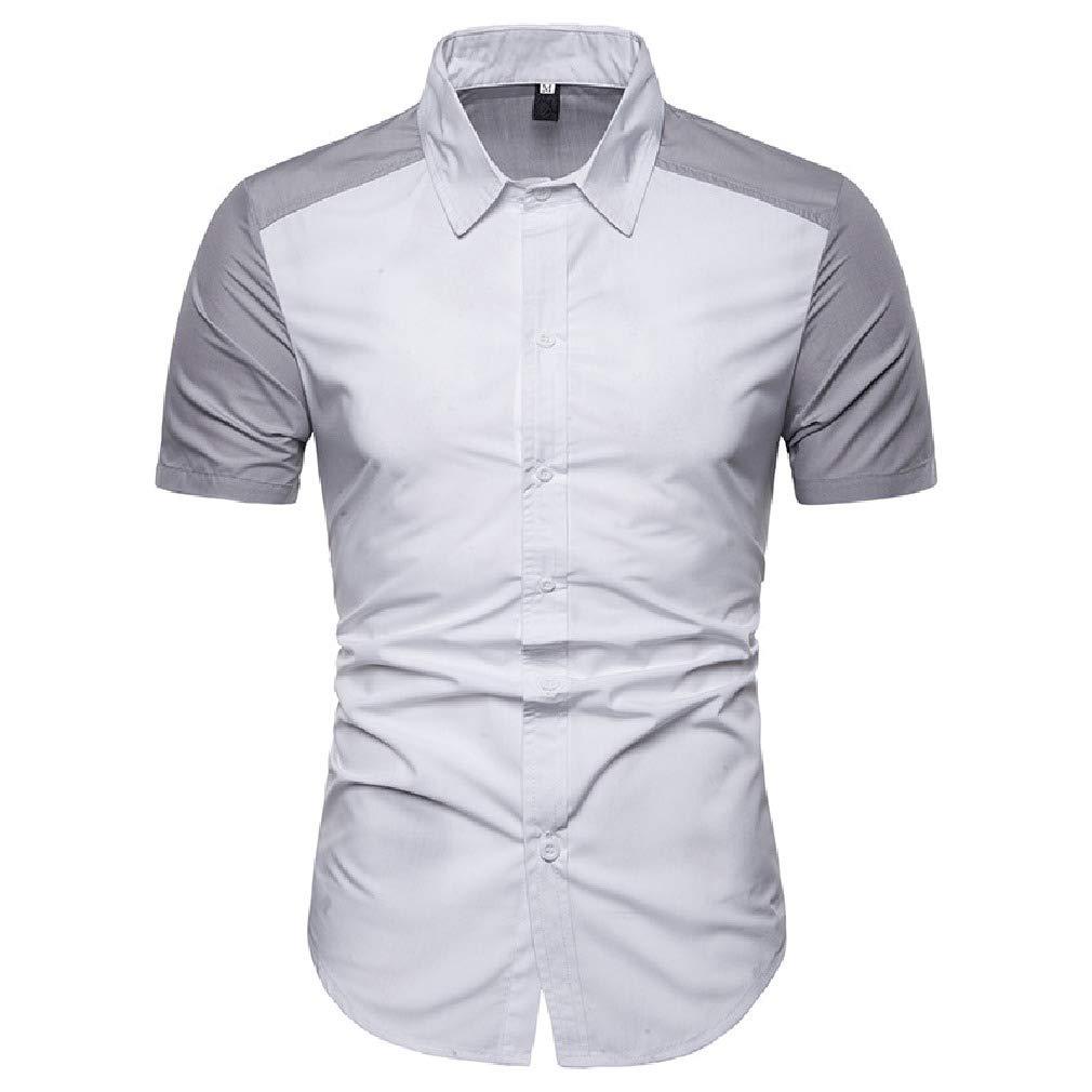 Abetteric Men Raglan Short-Sleeve Color Splice Lapel Collar Silm Fit Bussiness Dress Shirt