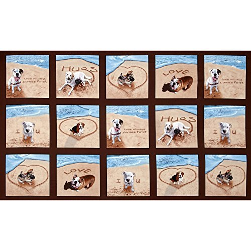 Elizabeth's Studio Sand Scribbles Patchwork 24 In Panel Dogs Brown Fabric