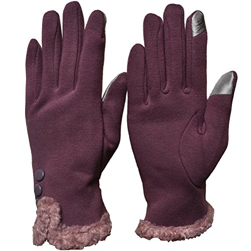 Womens Lady Thick Winter Screentouch Gloves Dot Fleece Windproof Warm Mittens (Fluff - Pale (Lady Fleece Glove)