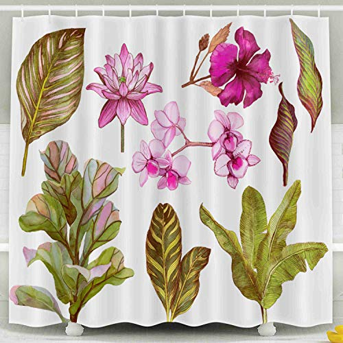 (Jacrane Farmhouse Shower Curtain, Waterproof Fabric Long Shower Curtains Liner with Hooks Bathroom Décor Set Tropical Leaves Flowers Orchid Banana Water Lily Hibiscus Isolated White 78X72Inch)