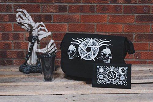 Bag Messenger Pentagram 38x33x11cm Skull Black xn1YfTxX