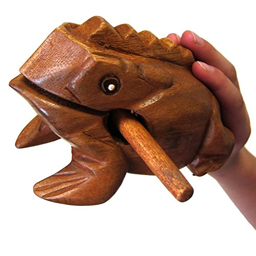 "World Percussion USA FR06N Large 6"" Wood Frog Guiro Rasp, Tone Block"