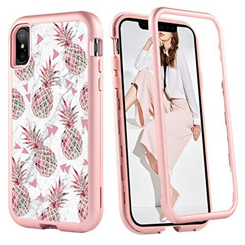 BENTOBEN iPhone Xs Max Case 6.5 2018, iPhone Xs Plus Case Pineapple, Hybrid Cute Pineapple Marble Pattern Anti-Slip Hard PC Soft TPU Full Body Protective Case for iPhoneXs Max/iPhone Xs Plus, Pink
