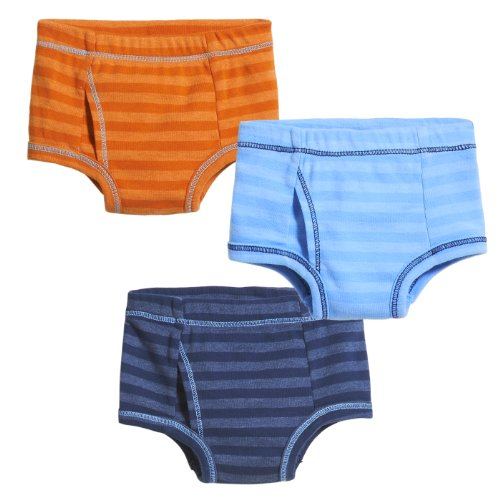 City Threads Boys Briefs Underwear In Soft Cotton Blend - Toddler Underpants - Perfect For Sensitive Skins SPD Sensory Friendly Clothing 3-Pack, Striped Orange/Bright Lt. Blue/Midnight, Size 18-24 mo. ()