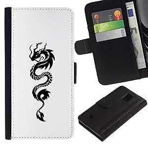 A-type (Snake Dragon Ink Tattoo White Black) Colorida Impresión Funda Cuero Monedero Caja Bolsa Cubierta Caja Piel Card Slots Para Samsung Galaxy S5 Mini (Not S5), SM-G800
