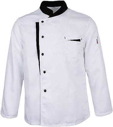 IPOTCH Chaqueta de Chef Cuello Mao Uniforme de Chef Camarero Hotel Panadería Servicio de Comida Secado Rápido: Amazon.es: Ropa y accesorios