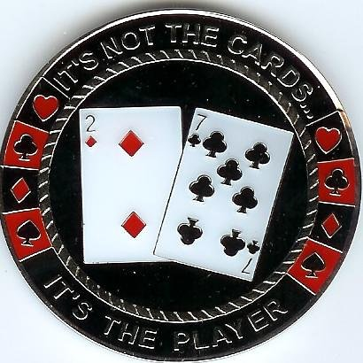 The Player not the Cards Poker Weight Card Guard Cover Chip Coin - Poker Coin Card Guard