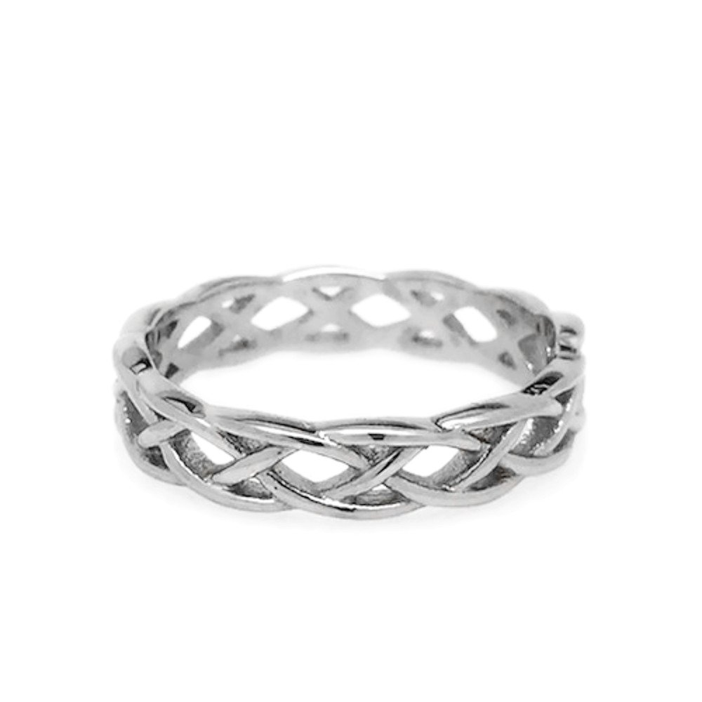 Womens Simple Stainless Steel Silver Endless Love Celtic Braid Band Ring (Size 7.5)