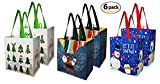 Earthwise Reusable Grocery Gift Bag Totes Assorted Xmas Christmas Holiday Shopping Designs Eco Friendly ( Pack of 6 )