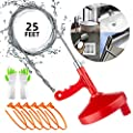 Drain Snake 25 Ft Plumbing Snake Drain Auger Flexible Sink Snake Pipe Cleaner Drain Opener for Bathroom Kitchen Sink, Shower Drain, Extra Gifts of Gloves and 6 Pack 19.6 Inch Snake Hair Clog Remover
