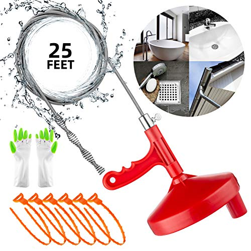 Oriflame 25 Feet Plumbing Snake Drain Auger Sink Snake Pipe Drain Cleaner for Bathroom Kitchen Sink, Shower Drain, Come…