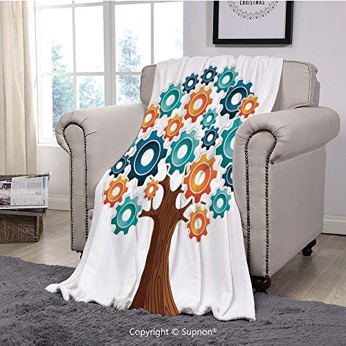 BeeMeng Premium Throw Blanket/Super Soft,Cozy,Lightweight Microfiber,Industrial Decor,Innovation Gears Concept Tree The System of Nature Cooperation Start Up Modern Graphic,Multi(71