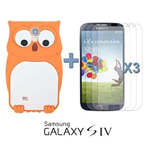 OnlineBestDigital - Owl Style 3D Silicone Case for Samsung Galaxy S4 IV I9500 / I9505 - Orange with 3 Screen Protectors