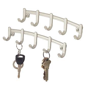 mDesign Juego de 2 ganchos para colgar llaves – Perchero de pared de metal con 5 ganchos – Colgador de llaves, pañuelos, toallas, paños de cocina y ...