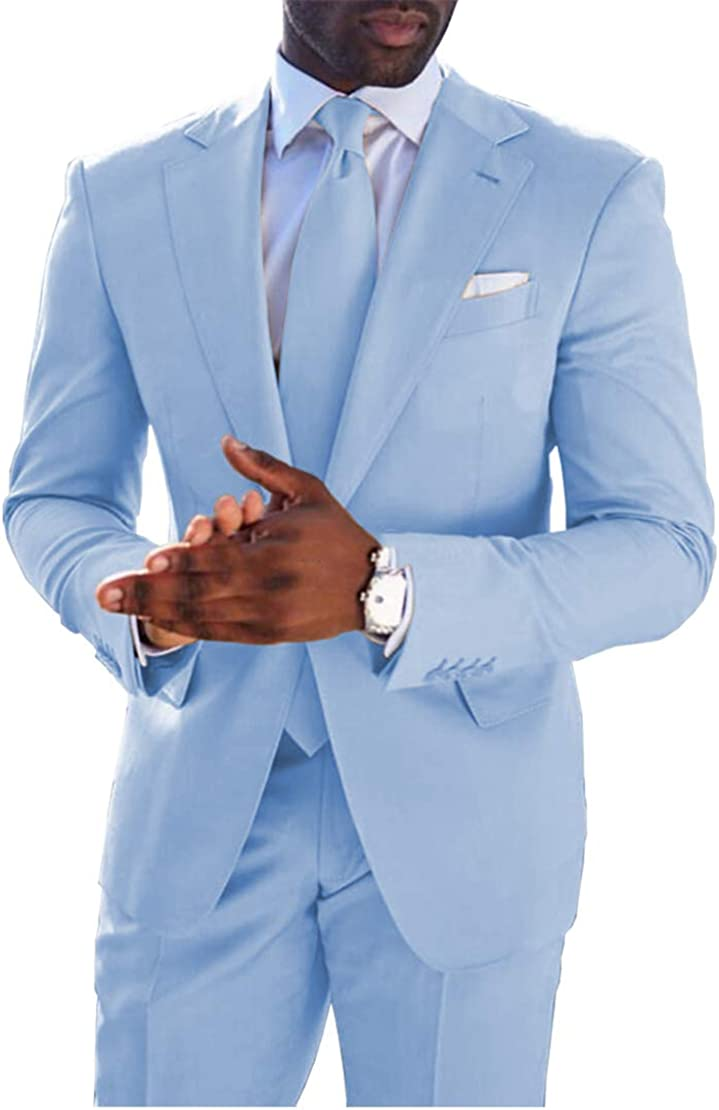 Vincent Bridal Men's Formal 2 Piece Wedding Suit Modern Fit Groomsmen Blazer & Pants Sky Blue