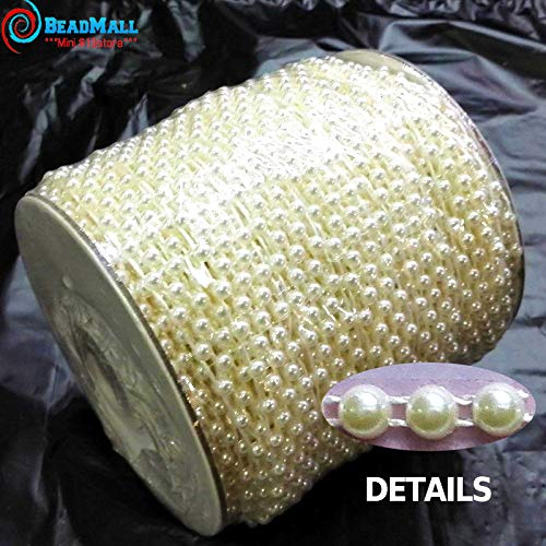 - DalaB 50M/Roll 4mm Flat Back Plastic Pearl Trim Ivory/White ABS Half Round Pearls Beads String for Wedding Clothes Decorative - (Color: Pure White)