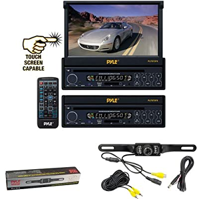 Vehicle Receiver and Rear View Camera Package - PLTS73FX 7'' Single DIN In-Dash Motorized Touch Screen Digital TFT/LCD Monitor w/ DVD/CD/MP3/MP4/USB/SD/AM-FM Radio Player - PLCM10 License Plate Mount Rear View camera w/Night Vision for Car, Van, Truck, Bu
