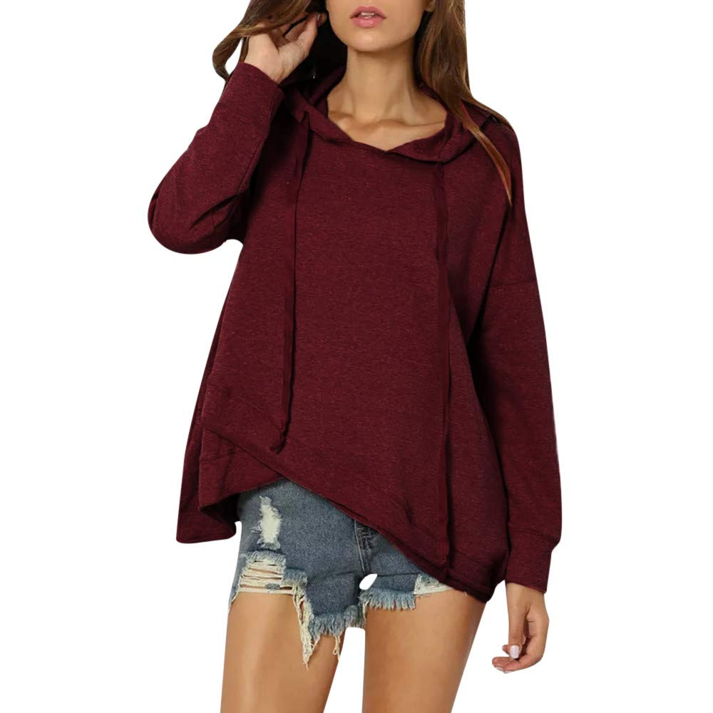 Bolayu Womens Women Casual Lace Up Long Sleeve Hoodie Pullover Solid Sweatshirt Tops (L, Wine Red) by Bolayu