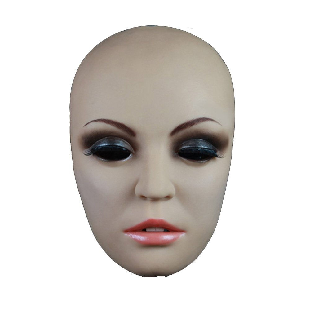 Ultra-real Female Mask Hand-made Skin Texture Holloween Disguising CD TG Drag Queen (Tan)