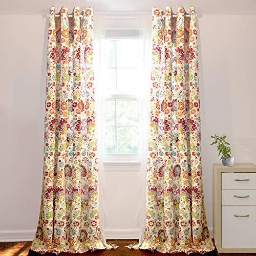 DriftAway Madison Floral Botanic Thermal Room Darkening Grommet Unlined Window Curtains, Set of Two Panels, each size 52