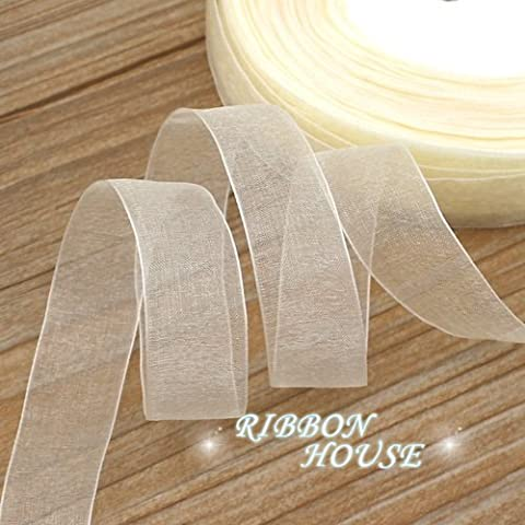 FunnyPicker (50 Yards/Roll) 3/4''(20Mm) Organza Ribbons Wholesale Gift Wrapping Decoration Christmas Ribbons Cream White