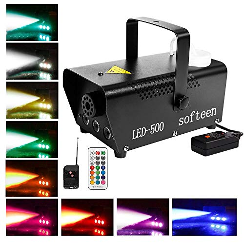 Dance Machine Halloween (softeen Fog Machine with Led Lights, Fog and Lights Work Separately or Together, Smoke Machine with Preheating Indicator, Wired and Wireless Remotes, Multiple Colors Selections -)