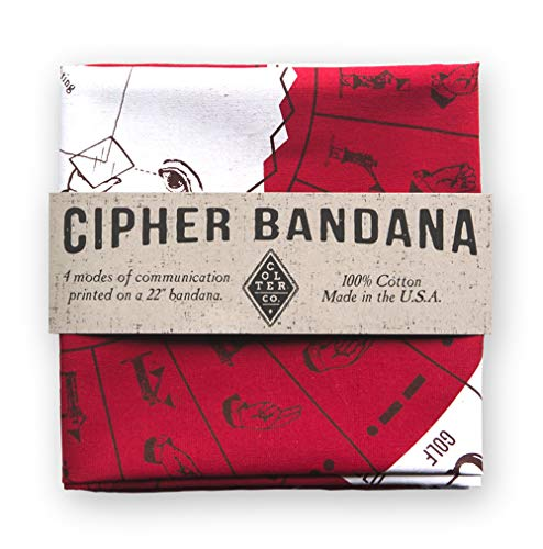 Cipher Survival Bandana for Camping, Hiking, Fishing   Insect Shield Treated Red Bandana with Morse Code, Sign Language, Signal Mirror, Ham Radio Reference Guide   Made in The USA ()