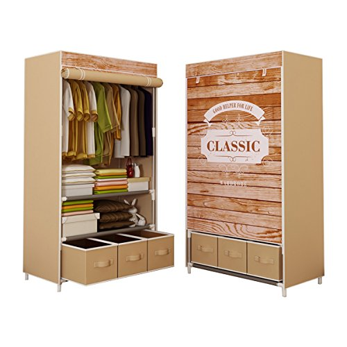 ASSICA Portable Clothes Closet for Girls Rolling Door Wardrobe Sturdy Rust-Proof Stainless Steel Frame Non-woven Fabric Storage Organizer with Three Drawer Boxes (Brown) ()