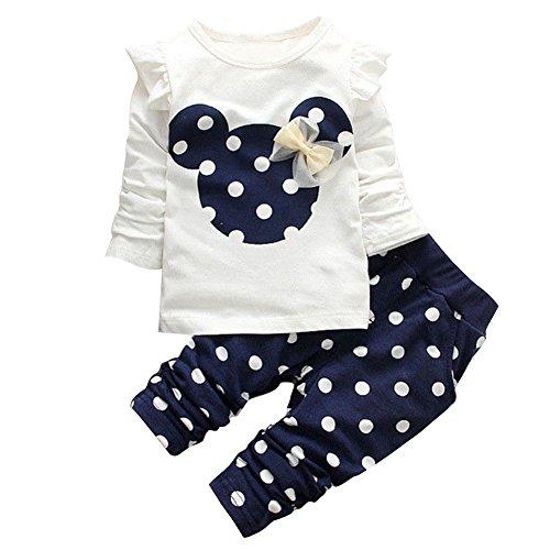 iEFiEL Baby Mädchen Kleidung Set Top Langarm Shirt + Pants Bekleidungsset Minnie Kopf Outfits Marineblau 92 (Herstellernummer:100)