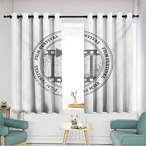 Bead Screen Glass Projection (Extra Wide Patio Door Curtain,Movie Theater Film Festival Grungy Round Stamp with an Antique Projection Camera Silhouette,Space Decorations,W72x45L,Grey White)