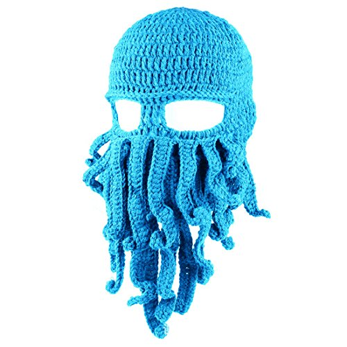 ECYC Tentacle Octopus Face Mask Winter Warm Knitted Squid Beanie Balaclavas,Sky Blue (Basic Beanie Brim)