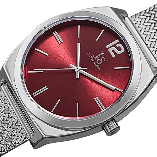 Designer Men's Watch - Stainless Steel Silver Tone Mesh Bracelet Band, Burgundy Sunray Dial, Classic Round Polished Case, Japanese Quartz - JX124SSRD