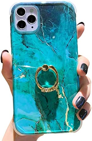 Anynve Compatible with iPhone 11 Pro Max Marble Case Cute for Women Girls with 360 Degree Rotating Ring Kickstand, Shockproof Hard Back + Soft TPU Bumper Slim Case [6.5 inch] -Gold Green