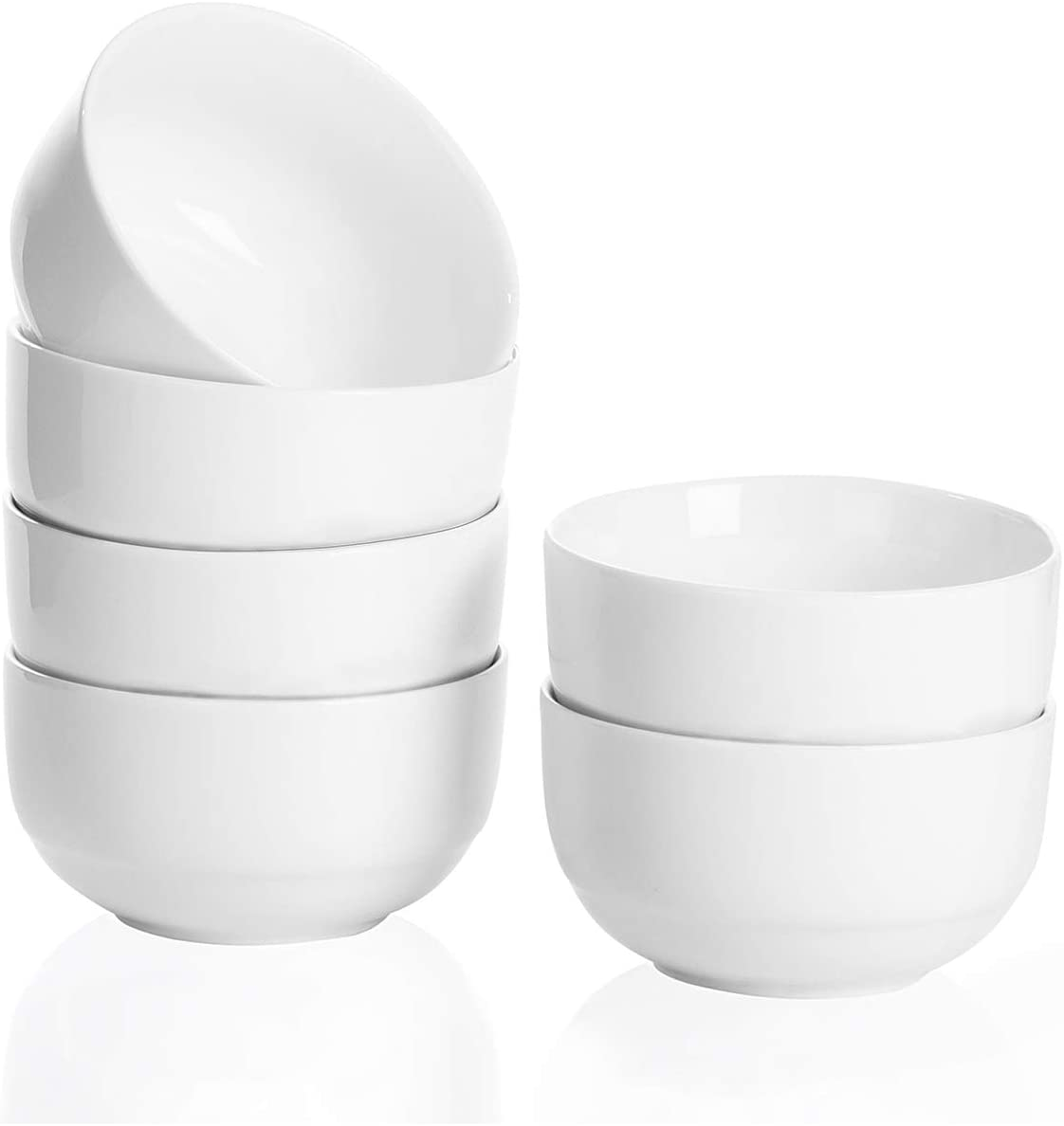 Bowls Set, 10 Ounce Porcelain Bowls for Cereal Fruit Soup, Small Bowls Set of 6 (White, 4.25 inch)