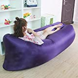 RBL New Outdoor Portable Beanbag Fast Inflatable Sleeping Bag Lazy Air Lounger Sofa Bed (Purple)