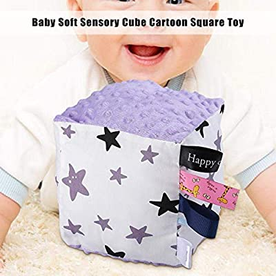 Baby Sensory Cube Cartoon Square Toy Tags Taggie Ribbons Sensory Toy Gift Appease Toys for Baby Infant(02#Purple Star): Arts, Crafts & Sewing