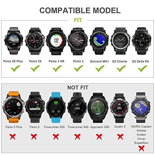 ANCOOL Compatible with Fenix 3 Watch Bands Soft Silicone Sport Bands Replacement for Fenix 6X/Fenix 6X Pro/Fenix 3hr/Fenix 5X/Fenix 5X Plus/Fenix 3 Smartwatches (Black,Olive Green)