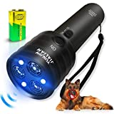 Handheld Dog Repellent Sonic Anti Barking Device, 3 Channels and Strong LED Flashlights, Sonic Bark Deterrents and Dog Training & Behavior Aids