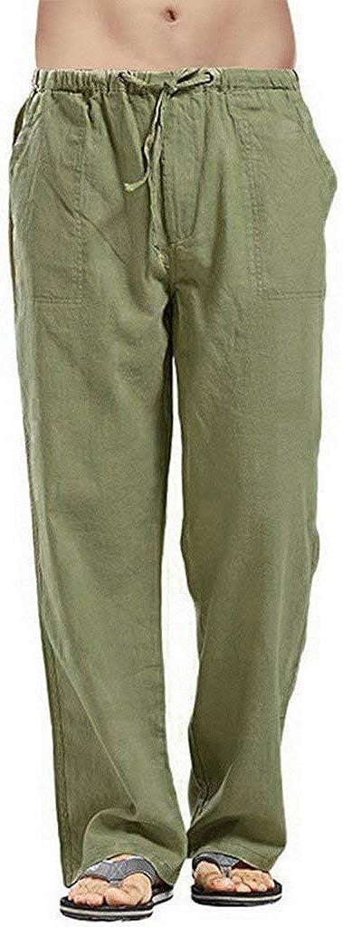 Pantalones Casuales de Lino para Hombre Bolsillos Laterales y Cinturón Ajustable Moda Casual Largos Pantalones Color sólido Deportivo Pantalon Fitness Chandal riou