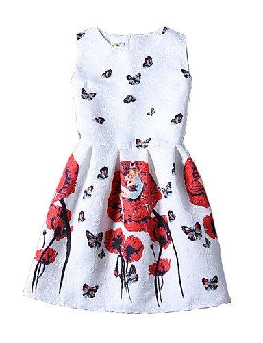 PU&PU Robe Aux femmes Gaine Vintage / Street Chic,Imprimé Col Arrondi Au dessus du genou Polyester , red-xl , red-xl