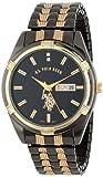 U.S. Polo Assn. Classic USC80047 Reloj de vestir para hombre, esfera negra, fecha día con acabado metálico