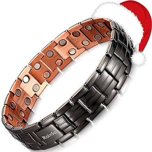 RainSo Mens Matt Gun Black Copper Double Row Magnetic Therapy Bracelets for Arthritis Wristband Adjustable (Gun Black)