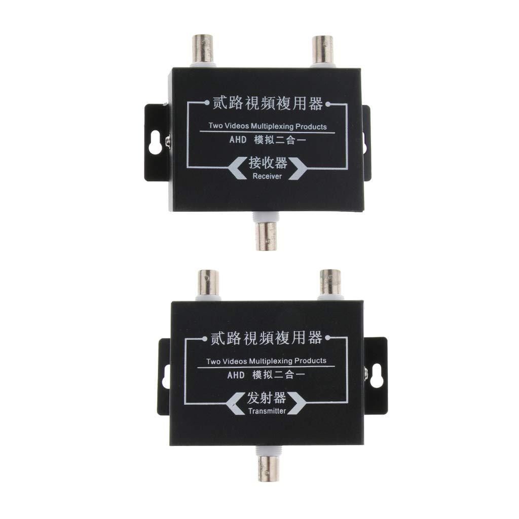 Baosity 2Pcs Industrial Surveillance Video Multiplexer 2Way Signal Receiver Transmitter