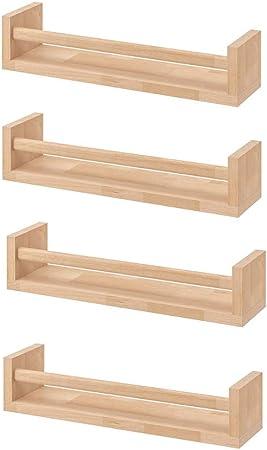 Ikea Bekvam, 4 estantes para especias de madera - cuarto del bebé - soporte de libros - niños - cocina - accesorios de baño, estante de almacenamiento organizador, color abedul, madera natural.: Amazon.es: Hogar