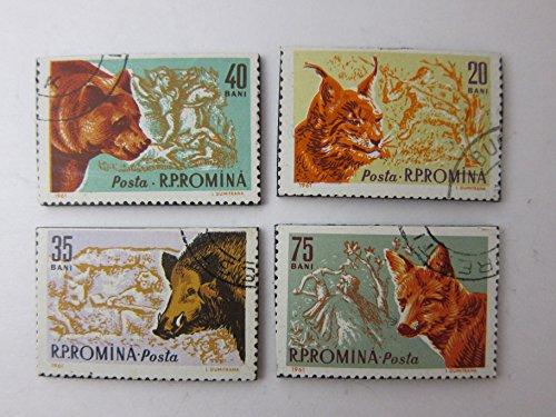 Wild Animal Magnets Postage Stamp Set of 4 Fridge Magnets ()