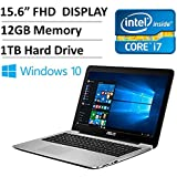 "Asus 2016 Flagship Edition 15.6"" Full HD 1080P High Performance Premium Laptop PC, Intel Dual-Core i7 Processor up to 3.0GHz, 12GB Memory, 1TB HDD, DVD Burner, 802.11AC, HDMI, VGA, Webcam, Windows 10"